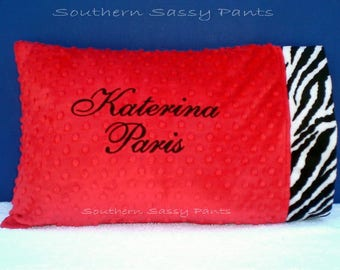 Personalized Pillow - Custom Travel Pillows, Toddler Pillows with Name, Minky Pillow Cases for Kids - Any Colors , Includes 12x16 Pillow