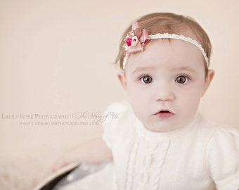 Leigha - Vintage Inspired Rosette Headband - Cream Beige Hot Pink Floral - Dupioni Silk Lace Bow - Newborn Infant Baby Girl Toddler Adult