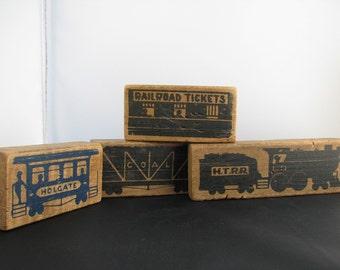 Vintage 1955 Holgate Railroad Train Toy Blocks