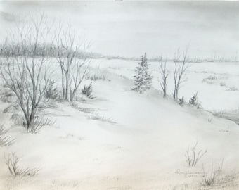 "Original Graphite Pencil Drawing-Cloudy Winter Hillside Landscape-Winter Trees-Pencil Art-11""x 14"" Medium Wall Hanging"