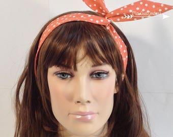 Coral polka dot semi rigid headband white