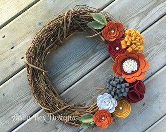 Fall Wreath, Fall Felt Floral Wreath, Thanksgiving Wreath,  Fall Grapevine Wreath, Rustic Fall Wreath, Handmade Wreath, Fall Decor,