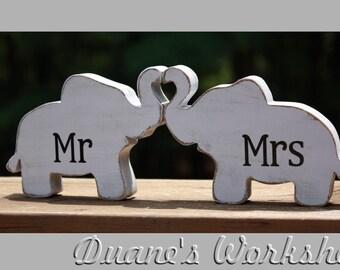 Mr & Mrs Elephants in love, elephant trunk heart, Mr and Mrs, wedding decoration, home decor, nursery decor,shabby chic