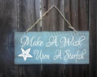 Starfish decor, starfish sign, make a wish upon a starfish, beach theme, beach decor, 25