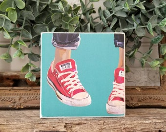 SNEAKER digital art - PRINT of original painting mounted on WOOD