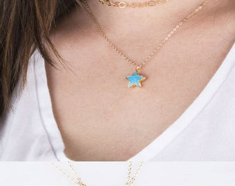 Gemstone Star Necklace, Gold Gemstone Star Necklace, Lucky Star Necklace, Friendship Necklace, Star Shaped Gemstone Necklace, Gift for Her
