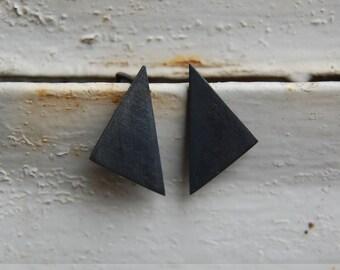 Black geometric pendants silver earrings, boho earrings