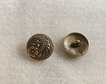 10 Tibetan style shank buttons in Antique Gold colour flower design crafts clasps sewing