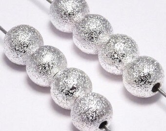 set of 20 silver effect sanded nine 6 mm round beads