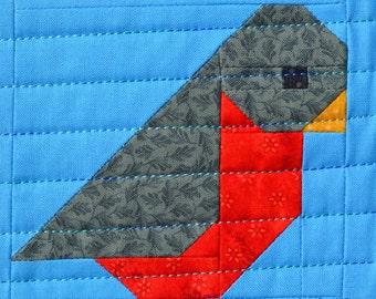 Bird Quilt Block Pattern, PDF, Instant Download, modern patchwork, pieced, bird, table runner