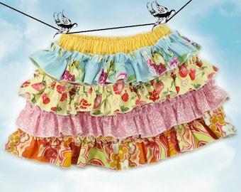 PDF Sewing Pattern - less Tutorial 4-row ruffles Ruffled Up Skirt sizes 6m through 16 Girls Instant