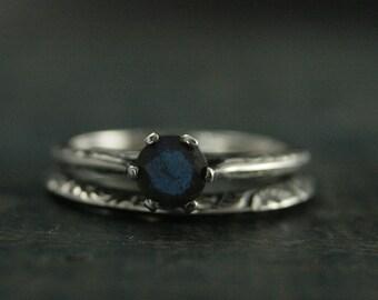 Atlantean Bridal Set--Full Cut Labradorite Engagement Ring Set--Sterling Silver Engagement Ring and Band--Engraved Knife Edge Band Set