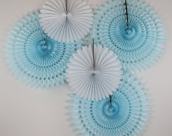 Baby Boy Baby Shower Decorations, baby shower decor, it's a boy, blue and white decor, children's birthday parties- 5 Tissue Paper Fans