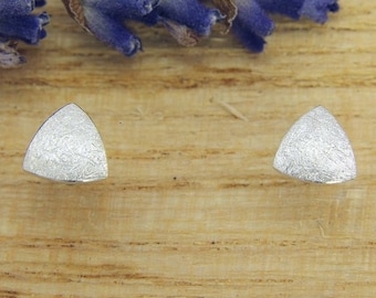Earrings Silver 925 /-, mini triangle Matt scratched, manual labour