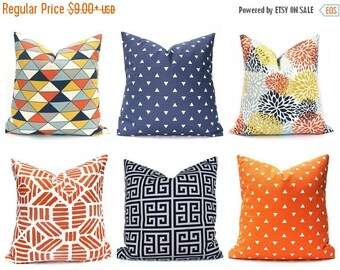 15% Off Sale Orange Pillow, Navy Pillow Covers, Decorative Pillow, Throw Pillow cover, Accent Pillow, Toss Pillow, Orange Pillows, Accent Pi