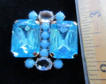 Vintage Czech Glass Rhinestone Button  Turquoise with Crystal Clear