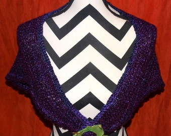MIDNIGHT DESIRE Split Rock Ranch OOAK Original Design/Creation Shawl Handspun Wool Commercial Boucle Yarns Purple and Black Hand Knitted