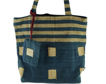 Handwoven Indigo Blue Tote Bag with Matching Coin Purse