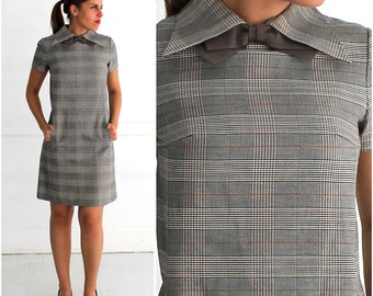 Vintage 60's/70's Preppy Gray and Brown Plaid Mod Shift Dress with Sharp Pointed Collar and Neck Bowtie by Shannon Rodgers | Small/Medium