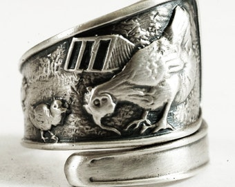 Chicken Ring, Spoon Ring Sterling Silver, Hens and Chicks, Bird Ring, Bird Jewelry, Farm Animal Ring, Adjustable Ring, Chicken Lover (3104)