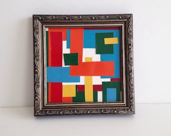 "Small Vintage Original Abstract Paper Collage of Geometric Shapes / Framed 6"" x 6"" / Modern Art"