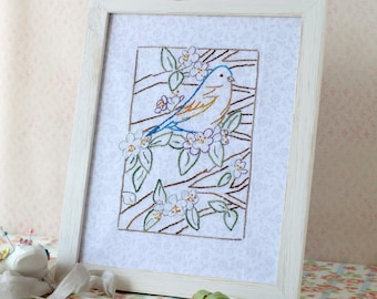 Bluebird Flower Tree Hand Embroidery PDF Pattern