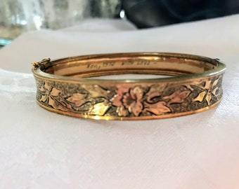 Antique Gold Filled Bangle ~ NBJ281 ~ Carl Art Bracelet ~ Gold Bangle ~ Gold Bracelet