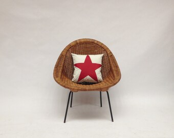 Recycled Sail Throw Pillows - Red Star