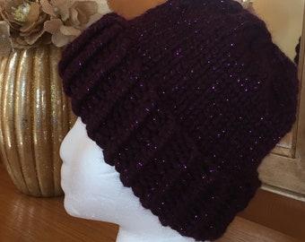Plum purple sparkle knitted hat