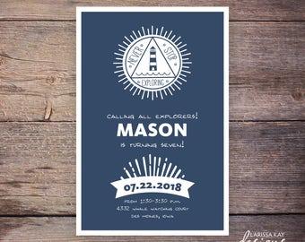 Never Stop Exploring Birthday Invitation, Birthday Invite, Nautical, Print at Home Birthday Invitation, Digital File - Mason