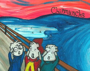Chipmunchs // Edvard Munch Chipmunks pun art print