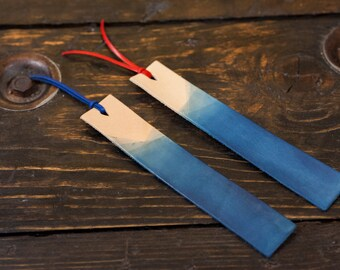 Indigo Dyed Leather Bookmark with Tassel