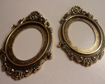 40mm x 30mm oval open back metalized antique brass settings 2 pc lot
