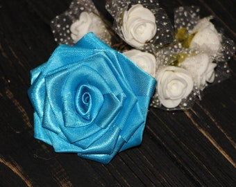 Blue wedding silk flowers blue rose silk wedding flowers handmade silk rose party decorations small roses baby shower decor fabric roses
