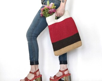 Felt Market Bag Madison Knitted Felted Stripe Wool Purse Spring Summer Fashion Accessory Hand Knit Red Mustard Brown Stripes