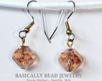 Pastel Pink w/golden coating faceted glass bead earrings