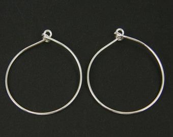 Large Silver Hoop Earring Finding Silver Wire Earring Components Bright Silver Earring 16 Gauge Wire |NU2-14|2 XN