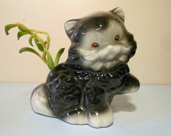Vintage Small Ceramic Kitten Planter Cat
