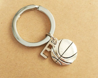 Antique Silver Keychain, Basketball and Personalized Initial Keychains,BF Keychain,birthday gift , BFF Gift,