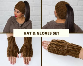 Hat and mitten set, hat and glove set, fingerless gloves, ponytail hat, fingerless mittens, messy bun hat, knit hats for women