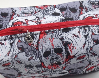 Zombie Pouch, Zip Pouch, Ditty Bag, Toiletry Kit, Cosmetics Case, Makeup Bag, Travel Case, Zombies Bag