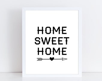 Home sweet home printable wall art / Quote prints / Home decor printable / Typography printable / Home wall art / Digital