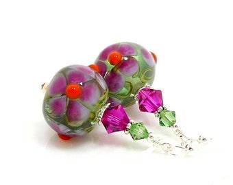Pink Earrings, Colorful Earrings, Lampwork Earrings, Glass Earrings, Glass Bead Earrings, Beadwork Earrings, lampwork Flower Earrings