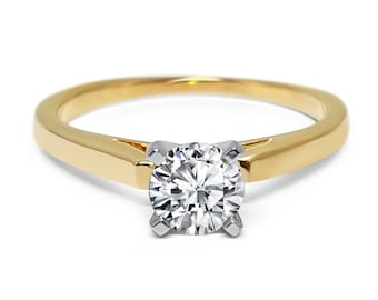 Yellow Gold Cathedral 4 prong round Forever ONE moissanite  Solitaire engagement ring flat edge