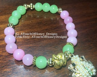 Pink and Green Bracelet with Frog Charm