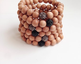 Rosewood Bracelet with Pave bead, Rosewood and Pave Stacking Bracelets Set of Four