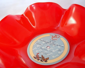 """Red Record Bowl / 12"""" Vinyl Record Bowl / Colored Record Bowl / Red Vinyl Record Bowl / Great Housewarming Gift / Modern / Funky / Fun"""