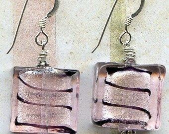 Black in Pink Squares Sterling Silver Earrings