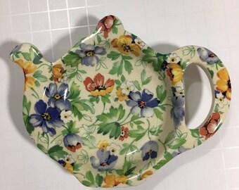 Vintage Floral Teapot Trinket Ring Dish Made in England