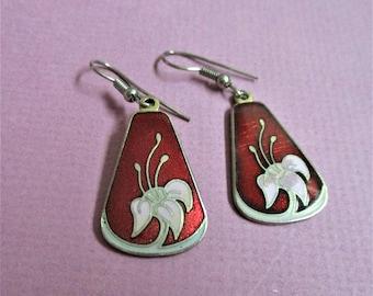 Burgundy Cloisonne Teardrop Pierced Earrings White Lily Enamel Gold Vintage Jewelry Ear Hooks Gift for Women Cloisonne Asian Jewelry